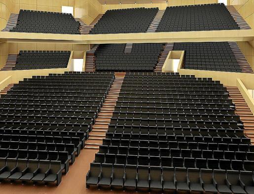 Recreación del auditorio del Palacio de Congresos con las butacas.