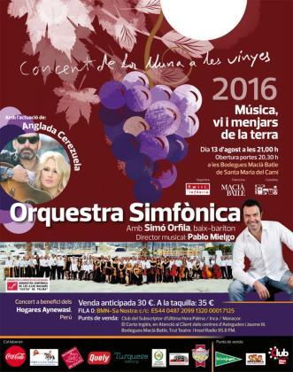 El Concert de la Lluna a les Vinyes 2016 contará con las actuaciones de Carolina Cerezuela y Jaime Anglada, la Orquestra Simfònica de Balears y el solista Simón Orfila.
