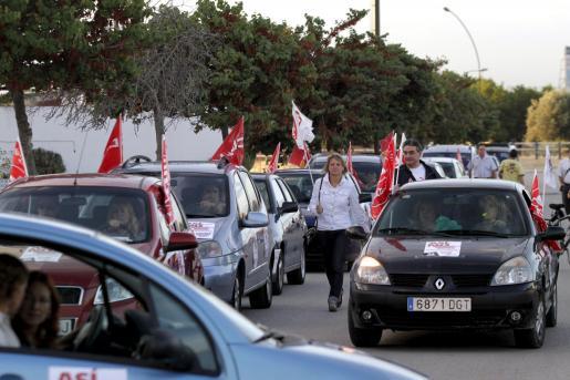 Imagen de la caravana de UGT de esta mañana.