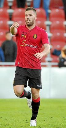 Ortuño celebra un gol con el Mallorca la pasada temporada.