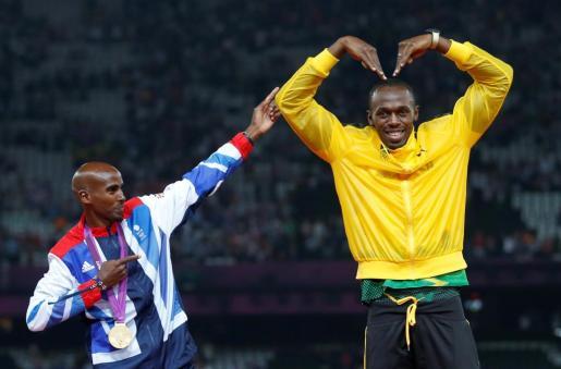 El jamaicano Usain Bolt tras una victoria en Londres.