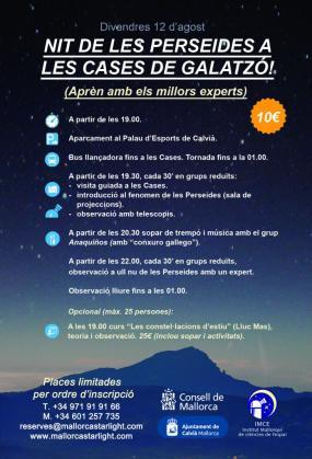 Cartel informativo de 'Nit de les Perseides a les cases de Galatzó'.