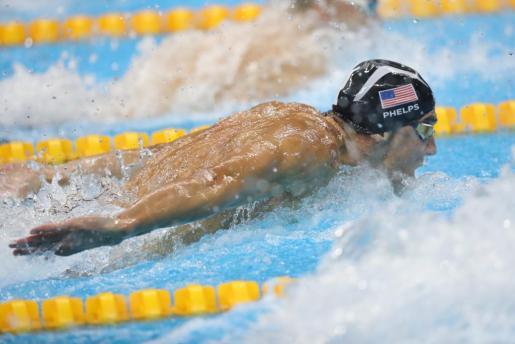 El estadounidense Michael Phelps, durante la competición.