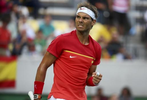 Rafael Nadal celebrando uno de los puntos ante Belluci.