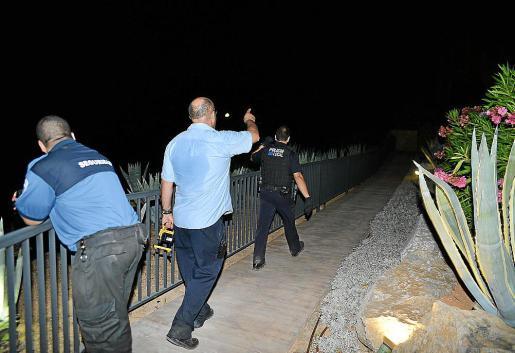 Policías y personal de seguridad realizando batidas por la zona.