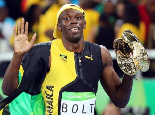 Usain Bolt tras la carrera.