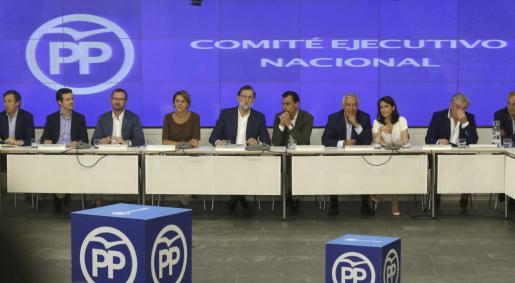 Vista general de la reunión la reunión del Comité Ejecutivo Nacional del PP, presidido por el presidente del Partido Popular y del Gobierno en funciones, reunido este miércoles.