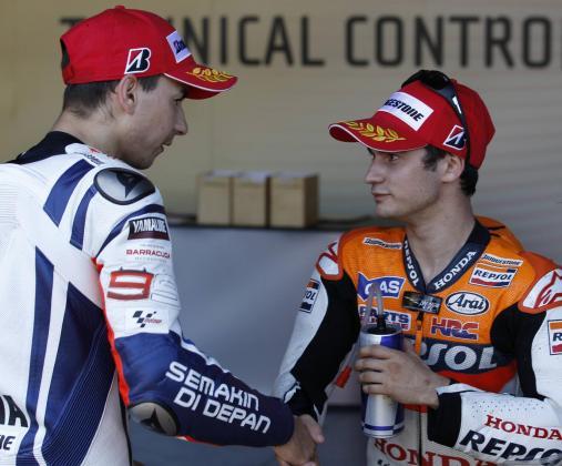 Dani Pedrosa y Jorge Lorenzo, en una imagen de archivo.