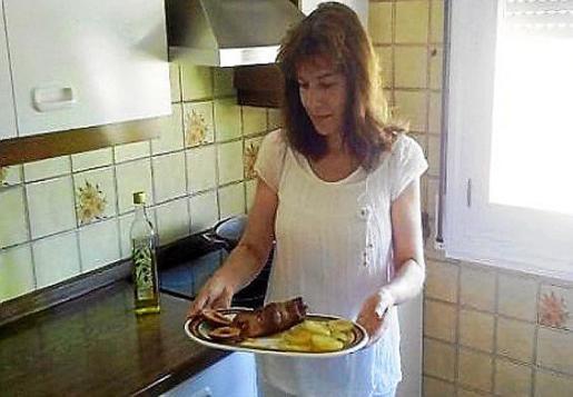 Margarita Lavado con su receta de solomillo ibérico relleno de sobrasada y queso.