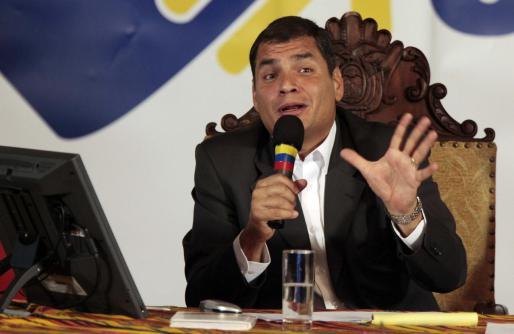 El presidente de Ecuador, Rafael Correa, ayer en el Palacio de Gobierno de Quito.