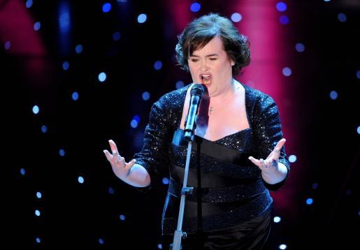 La cantante Susan Boyle durante una actuación en Italia.