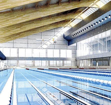 Interior del proyecto de piscina cubierta del polideportivo de Son Moix.