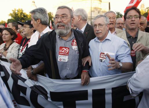 Cándido Méndez e Ignacio Fernández Toxo en la manifestación del día de la huelga general celebrada el pasado miércoles día 29 de septiembre.