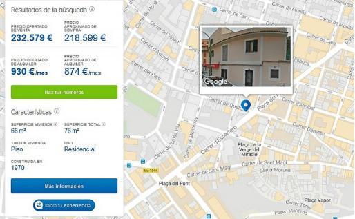 La imagen corresponde a un acceso a la herramienta a través de la web, similar a lo que se ve con el móvil. Cuando se selecciona una vivienda, y en función de una serie de parámetros, informa del precio estimado de venta y de alquiler, y proporciona un precio negociado.
