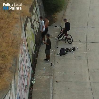 Los grafiteros fueron 'cazados' mientras pintaban las paredes del cauce del Torrent de sa Riera.