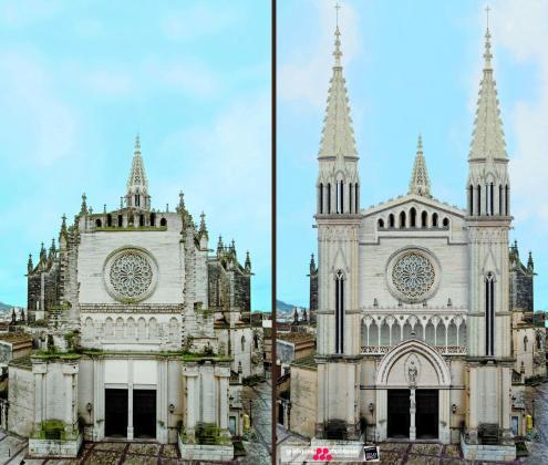Imagen de la fachada actual de la iglesia dels Dolors y cómo quedará en un futuro, según el proyecto.