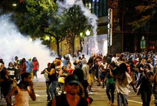 Imagen de un momento de los disturbios de este miércoles.