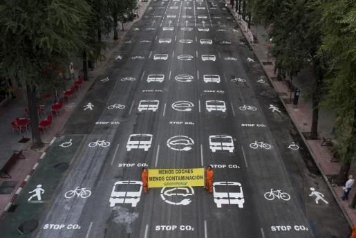 Acción de Greenpeace en la capital española, coincidiendo con la celebración del Día Sin Coches.