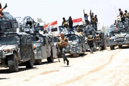 Imagen de archivo de fuerzas iraquíes tras liberar un enclave en manos de los yihadistas.