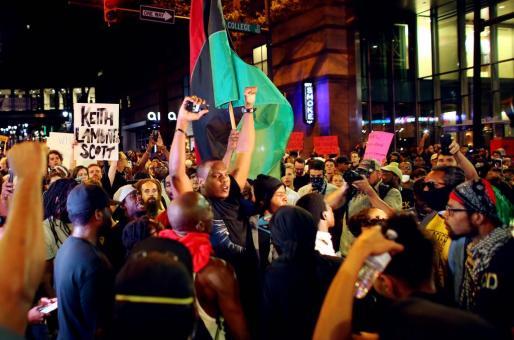 Imagen de las protestas en Charlotte.
