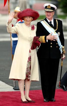 Imagen de Alberto de Bélgica y Paola cuando asistieron a la boda de los Príncipes de Asturias.