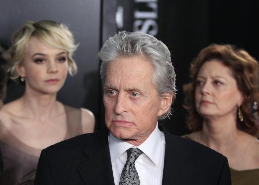 """Michael Douglas juntio a Carey Mulligan y Susan Sarandon en la presentación de su última película, """"Wall Street: El dinero nunca duerme""""."""