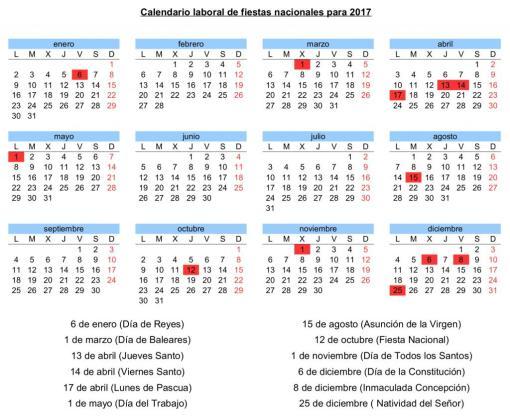 Calendario laboral de fiestas nacionales para 2017, además del Día de Baleares.