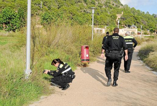 Agentes de la Policía Local de Calvià realizando un reportaje fotográfico de las farolas donde se robó el cable. Fotos: MICHELS