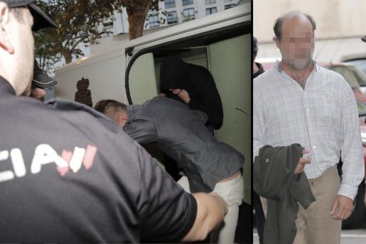A la izquierda de la imagen, con capucha negra, el empresario Antoni Roig. A la derecha, el jefe de Mobilitat del Ajuntament de Palma, Miquel Femenia. Ambos fueron puestos a disposición judicial a primera hora de este jueves, tras haber sido detenidos el pasado lunes.