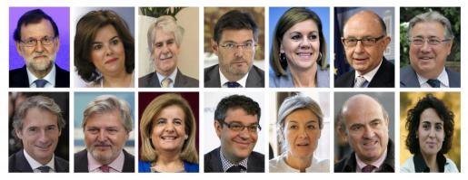 Combo del presidente del Gobierno,Mariano Rajoy, junto a sus ministros del nuevo Gobierno. Rajoy, Santamaría (vicepresidenta), Guindos (Economía e Industria), Monserrat (Sanidad), Catalá (Justicia), Dastis (Exteriores), Nadal (Energía, Turismo y Agenda digital), Montoro (Hacienda), Cospedal (Defensa), Méndez de Vigo (Educación y portavoz), Báñez (Trabajo), Tejerina (Agricultura), Zoido (Interior) y De la Serna (Fomento).