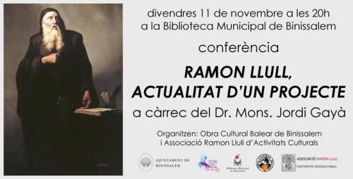 El Dr. Mons. Jordi Gayà imparte la charla 'Ramon Llull, actualidad de un proyecto'.
