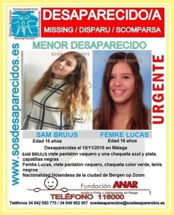 Cartel de la organización Sos Desaparecidos con las imágenes de las chicas.