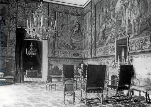 Salón de los tapices de Can Pueyo, que fue la casa de los marqueses de Campofranco.