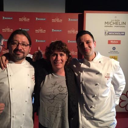 Adrián Quetglas, Macarena de Castro y Álvaro Salazar, chef de Argos.