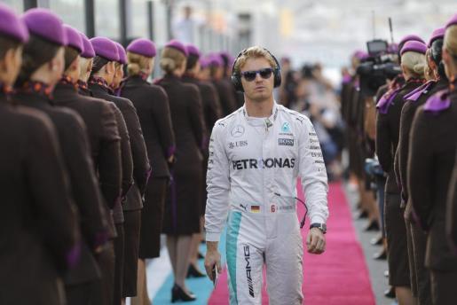 El alemán Nico Rosberg, a su llegada al Gran Premio Abu Dabi.
