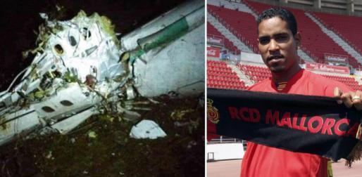 Dos imágenes: una del fuselaje del avión estrellado y la otra, del exmallorquinista Cléber Santana.
