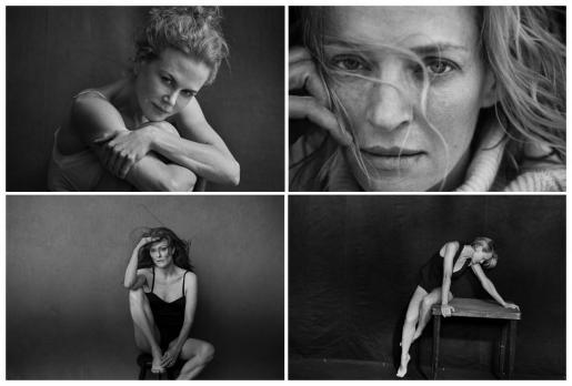 Combo de fotografías facilitadas por Pirelli de las actrices (de izq. a dcha. y de arriba a abajo): Nicole Kidman, Uma Thurman, Julianne Moore y Robin Wright, en su posado para la edición 2017 del famoso calendario de la compañía de neumáticos italiana.