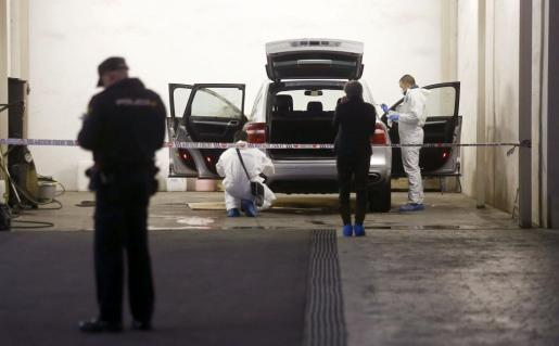La policía científica registra el vehículo en el que la viuda del expresidente de la extinta Caja de Ahorros del Mediterráneo (CAM), Vicente Sala, fue hallada muerta.