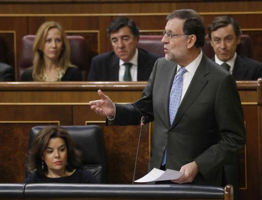 El presidente del Gobierno, Mariano Rajoy, durante su intervención en la sesión de control al Gobierno en el Congreso.