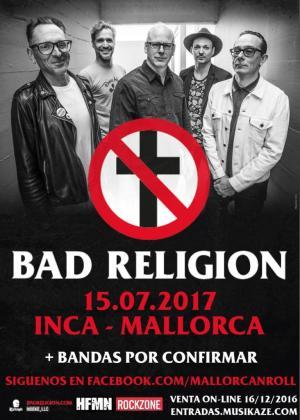 Cartel del Mallorca 'n' Roll con la banda Bad Religion.