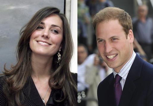 Combo de imagenes de archivo del príncipe Guillermo de Inglaterra, segundo en la línea de sucesión a la Corona británica, y de su prometida, Kate Middleton.
