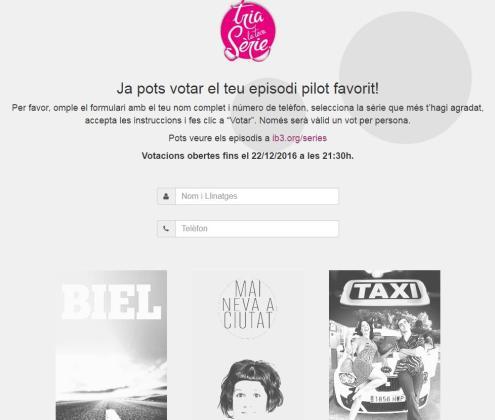 Imagen del portal donde se puede realizar la votación de series.
