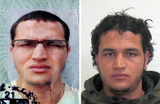 Fotografía facilitada por la Oficina Federal de Investigaciones Criminales (BKA) este miércoles 21 de diciembre de 2016 que muestra las fotografías del cartel de búsqueda del joven tunecino Anis Amri, de 24 años por su posible implicación en el atentado cometido el viernes en Berlín.