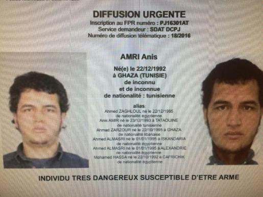 Orden de arresto del sospechoso Anis Amri, buscado por su supuesta implicación en el atentado de Berlín.