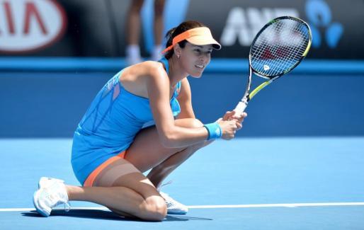 Ana Ivanovic tras derrotar a Serena Williams en el Open de Australia de 2014.