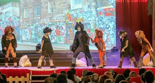 Los actores llenaron de colorido el escenario del Recinto ferial de Ibiza tras haber presentado su obra en casi toda España. Foto: TONI ESCOBAR