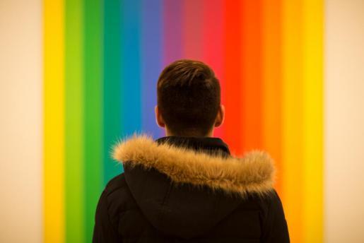 Un niño observando una obra en un museo.