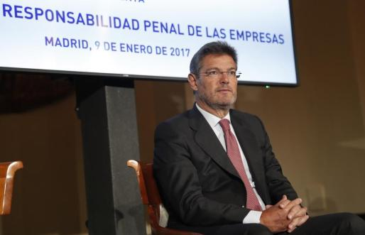 El ministro de Justicia, durante la inauguración de la primera jornada sobre Responsabilidad penal de las empresas organizada por la Asociación de Compliance Officers de España (ACOFES).