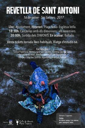 Cartel de las fiestas de Sant Antoni en ses Salines.