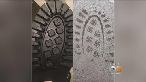 En la imagen, la huella de la bota en que se ve claramente la esvástica Nazi.